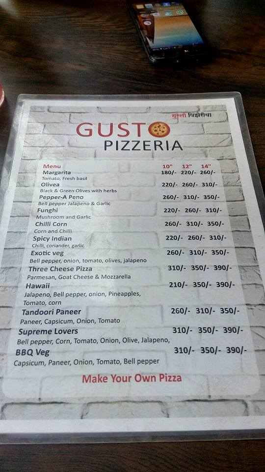 Wide variety of options available in the Gusto Pizzeria Menu
